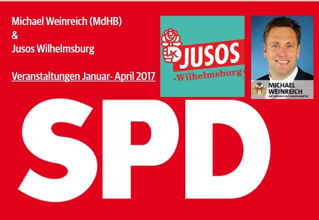Postkarte Veranstaltungen mit Jusos vorne