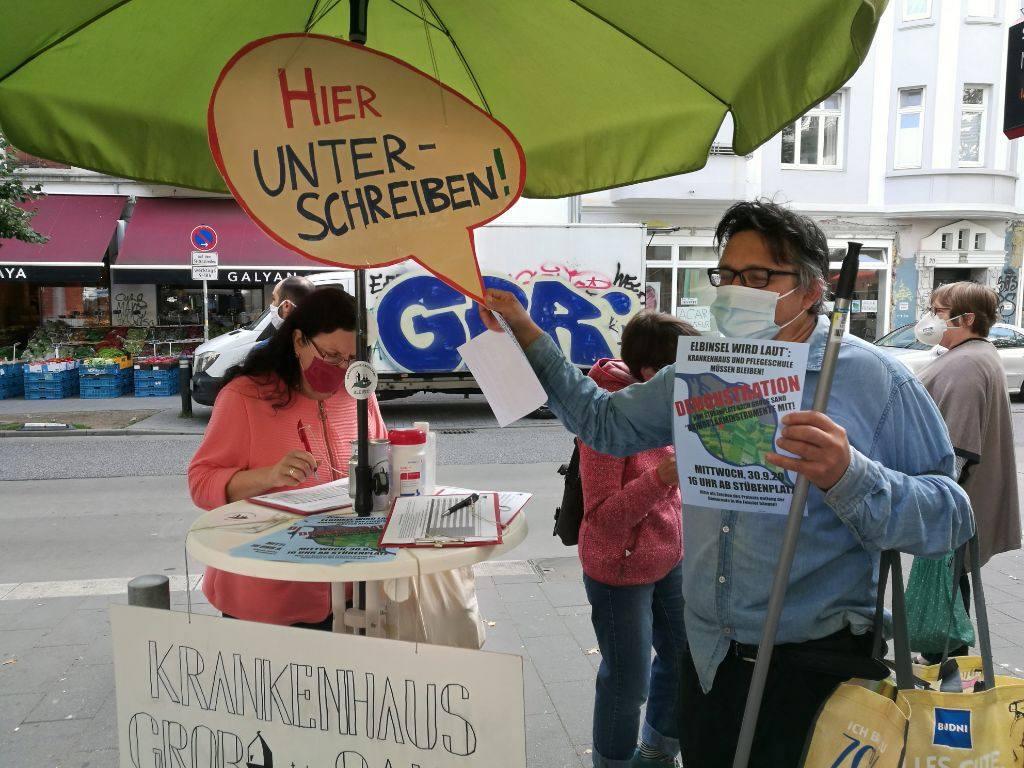 Demo für den Ehralt des Krankenhauses Groß-Sand am Mittwoch, 30. September. Foto: ein